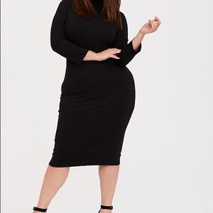 Torrid size 2x black turtle neck bodycon dress.